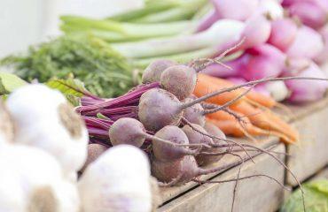 warzywa wyłożone na skrzynkach