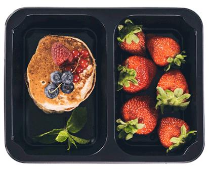 placki z owocami w pudełku
