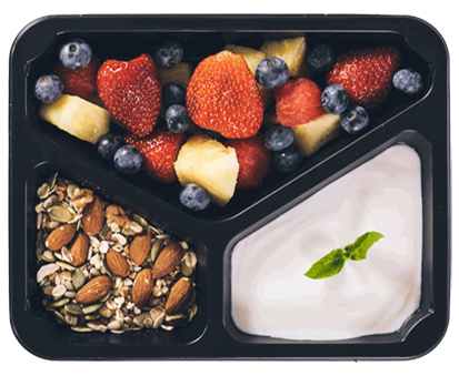 śniadanie z owocami w pudełku